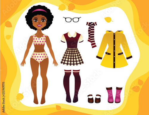Vector colorful game of a paper doll with fashionable autumn clothes collection Canvas-taulu