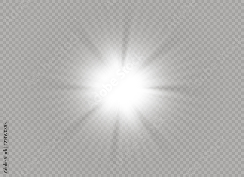 Fototapeta Glow light effect. Star burst with sparkles. Vector illustration. obraz na płótnie