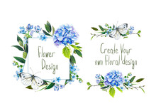 Set With Illustration Of  Blue Hydrangea, Butterfly And Other Flowers. Frame And Small Bouquets For Decoration, For Your Design. Markers' And Watercolor's Art.
