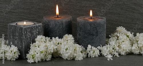 Leinwand Poster Brennende Kerzen