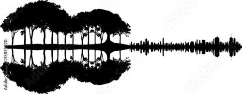 Gitarre - Wald Stadt Spiegelung