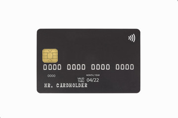 Black bank credit card isolated on white background
