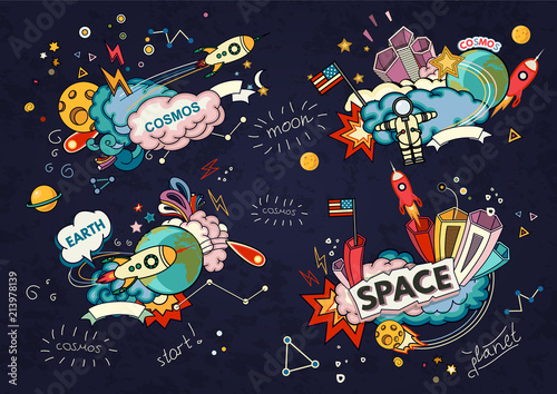 Cartoon vector illustration of space. Moon, planet, rocket, earth, cosmonaut, comet universe Classification milky way Hand drawn Abstract