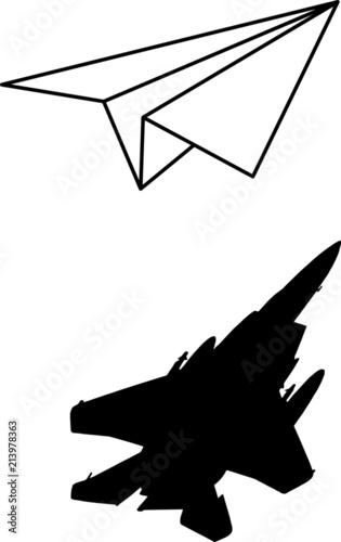 Cuadros en Lienzo Papier Flieger mit Jet Schatten