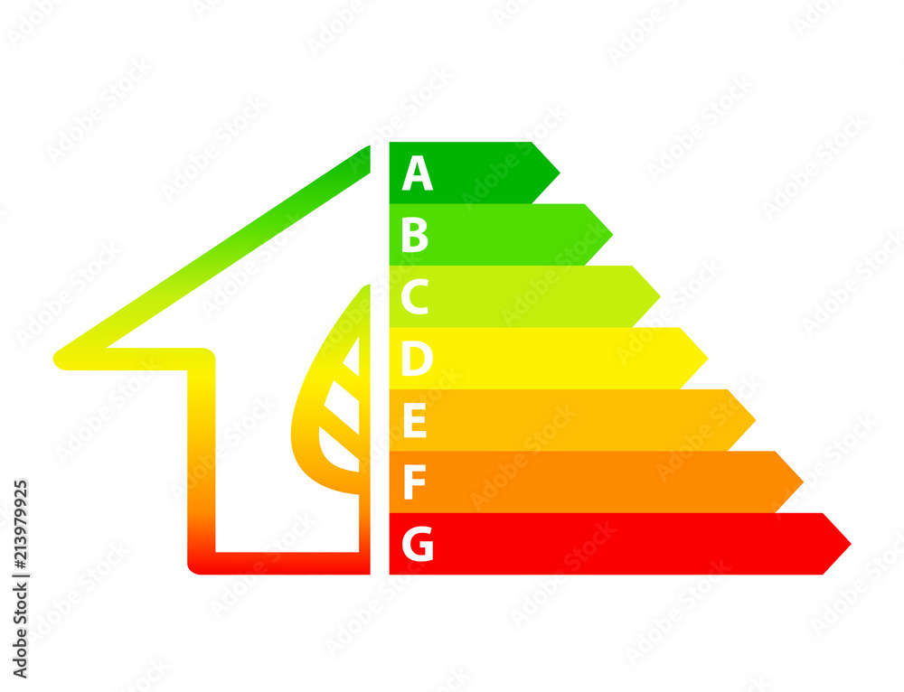 Fototapeta energy efficiency arrows and house icon ecology concept, stock vector illustration