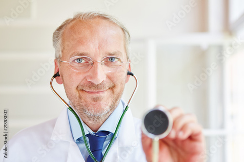 Doctor with stethoscope Canvas Print