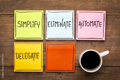 Task management concept: simplify, eliminate, automate, delegate Canvas Print