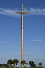 Great Cross As Saint Augustine, Florida Against A Blue Sky