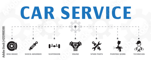 Fotomural horizontal Car service banner concept template with simple icons