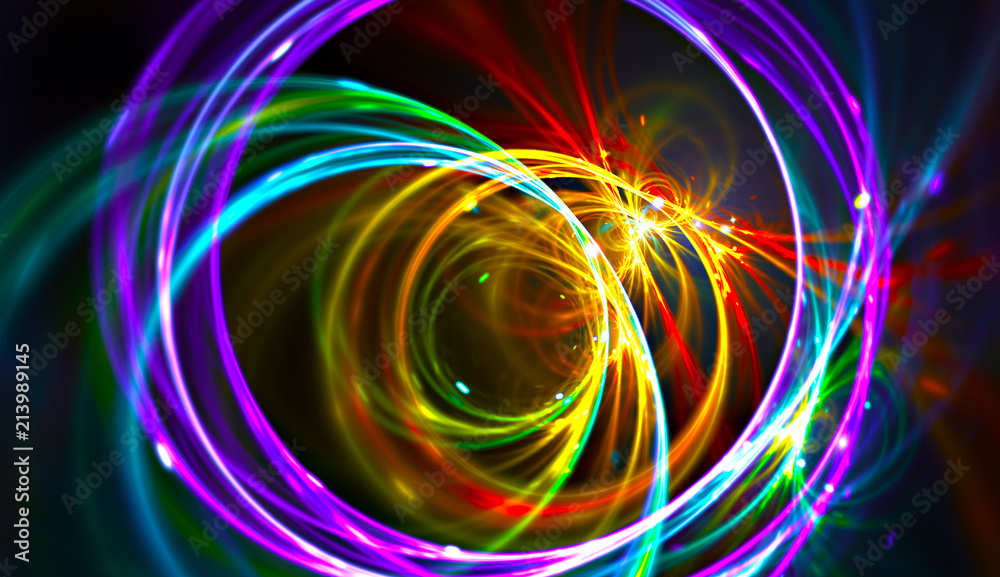Fototapeta Night music party background. Electro style abstract pattern. Light fractal artwork for creative graphic design
