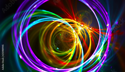 Obraz Night music party background. Electro style abstract pattern. Light fractal artwork for creative graphic design - fototapety do salonu