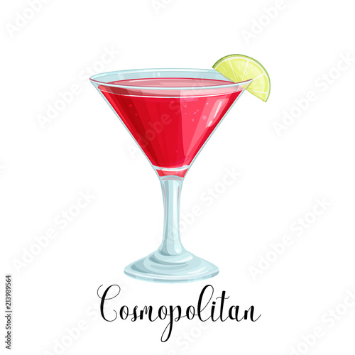 Canvas glass of Cosmopolitan cocktail