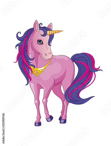 Deurstickers Pony Pink unicorn on a white background. Illustration of a child. Magic. Vector.