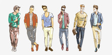 Fashion Man. Collection Of Fashionable Men S Sketches On A White Background. Men Casual Fashion Illustration