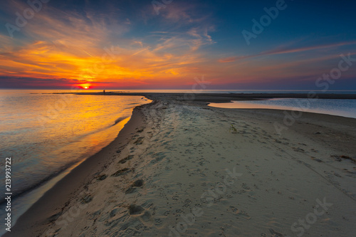 Poster Cote Scenic view of Baltic Sea during sunset, Poland