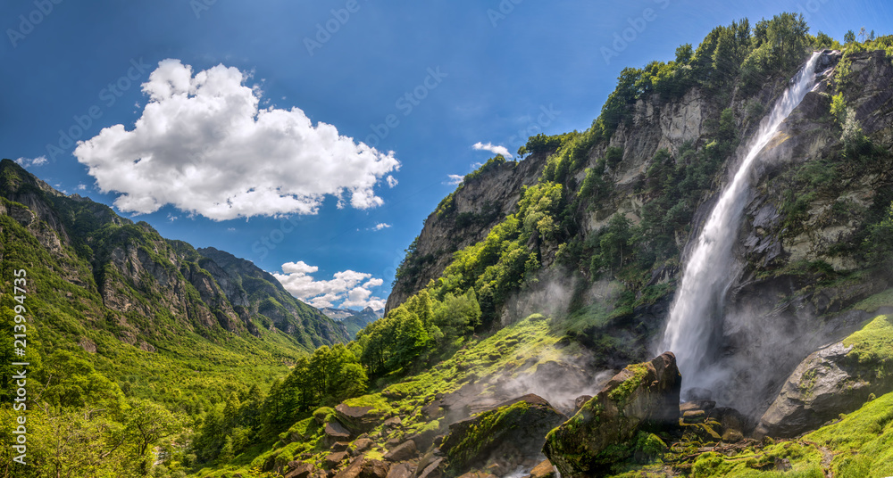 Fototapety, obrazy: Foroglio waterfall with Swiss Alps in cantonTicino, Bavona valley, Switzerland, Europe