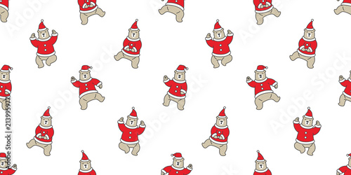 Bear Seamless Pattern Christmas Vector Santa Claus Polar