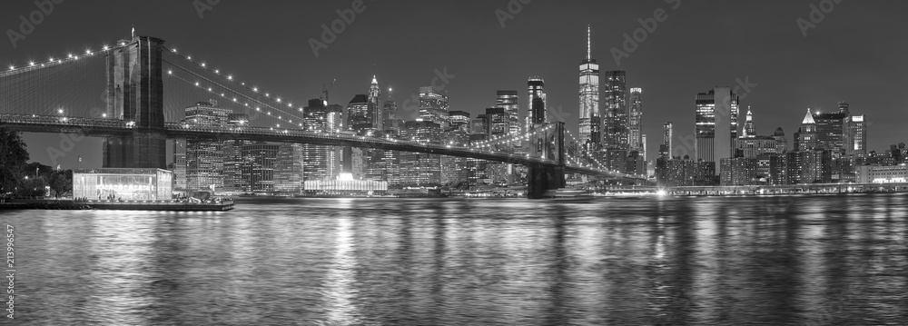 Fototapeta Black and white picture of New York City skyline at night, USA.