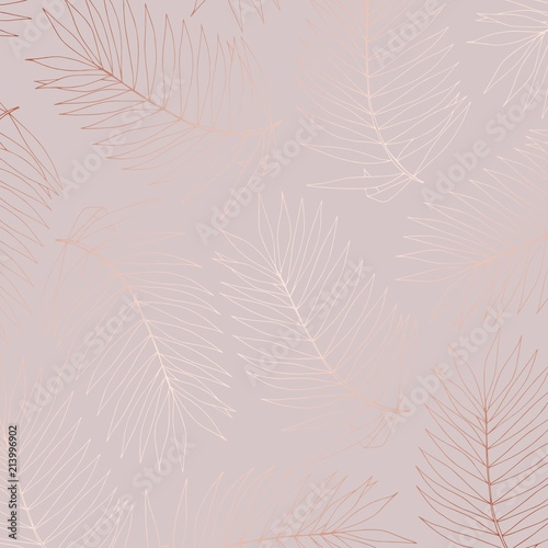 Foto op Plexiglas Historisch geb. Delicate vector pattern with tropical branches with imitation of rose gold