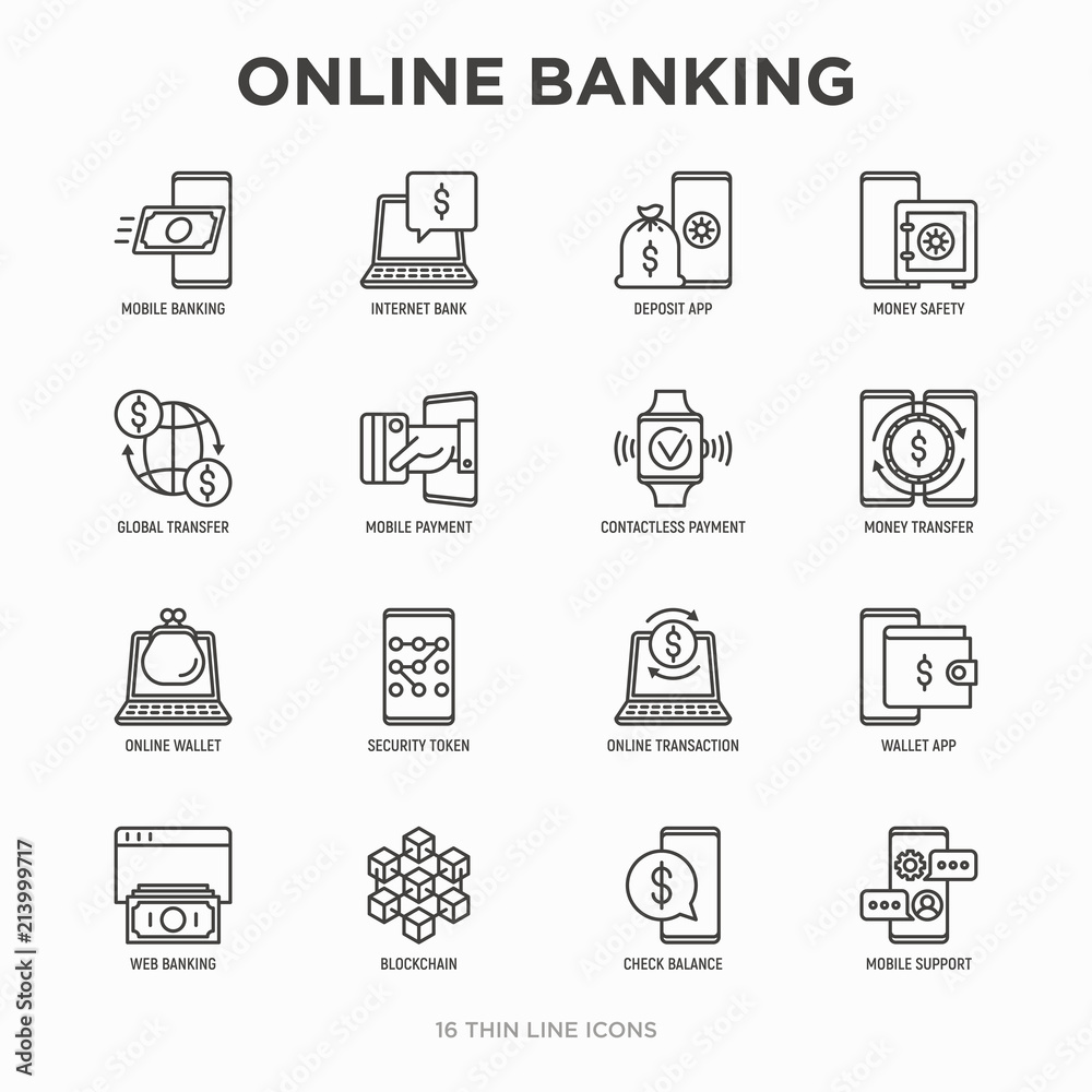 Fototapeta Online banking thin line icons set: deposit app, money safety, internet bank, contactless payment, credit card, online transaction, check balance, mobile support, blockchain. Vector illustration.