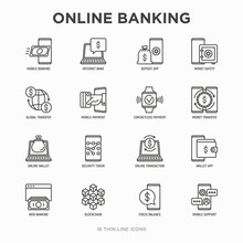 Online Banking Thin Line Icons...