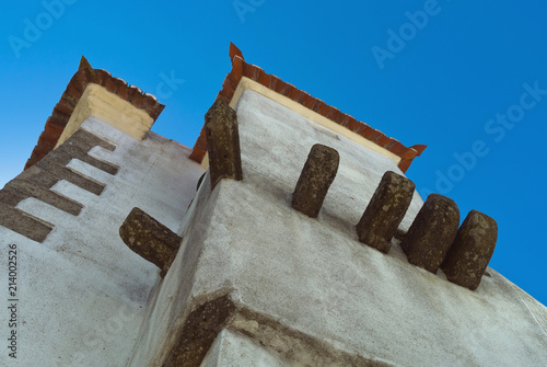 Down top view to a Portuguese building in small village Poster