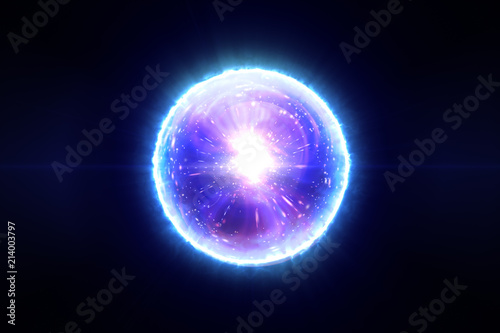 Fotomural Abstract magic sphere with molecules of compounds 3d illustration