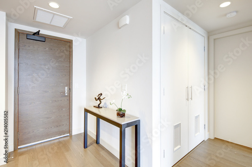 Foto White entrance hallway with console table