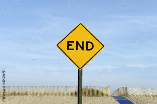 Fotografía  Sackgasse-Verkehrsschild am Rockaway-Beach nahe New York, USA