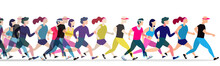 Jogging People. Runners Group In Motion. Running Men And Women Sports Background.jogging And Running Illustration
