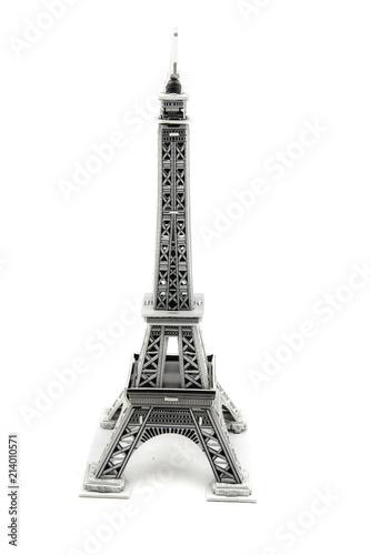 Deurstickers Eiffeltoren souvenir from paper Eiffel Tower Paris on white background