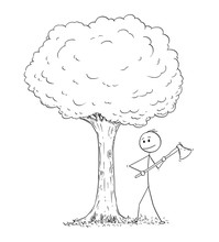Cartoon Stick Drawing Illustration Of Man Or Lumberjack With Axe Or Ax Chopping Down The Tree