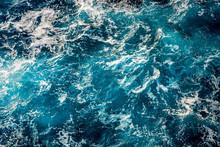 Blue Sea Water Surface, Ocean Waves Pattern Background