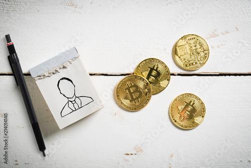 Manager Symbol Und Bitcoin Münzen Auf Holzuntergrund Kaufen Sie