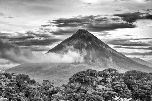 Wall Murals Volcano Black and White Dramatic Volcano