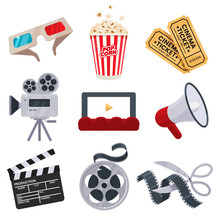 Cinema Icons Set In Flat Style. Movie Industry Objects. Colorful Cinema Illustrations Isolated On White. Design Elements For Movie Theater. Vector Eps 10