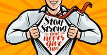 Businessman Or Superhero. Vector Illustration In Style Comic Pop Art