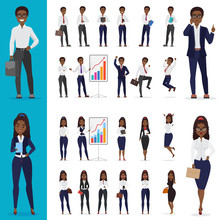 Vector Black African American Business Man And Business Woman Working Office Character Design Set.