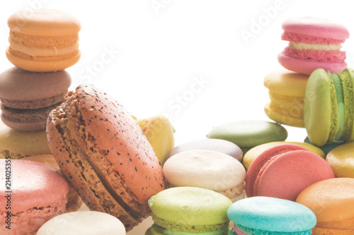 Keuken foto achterwand Macarons Mixed size of french macarons on white background