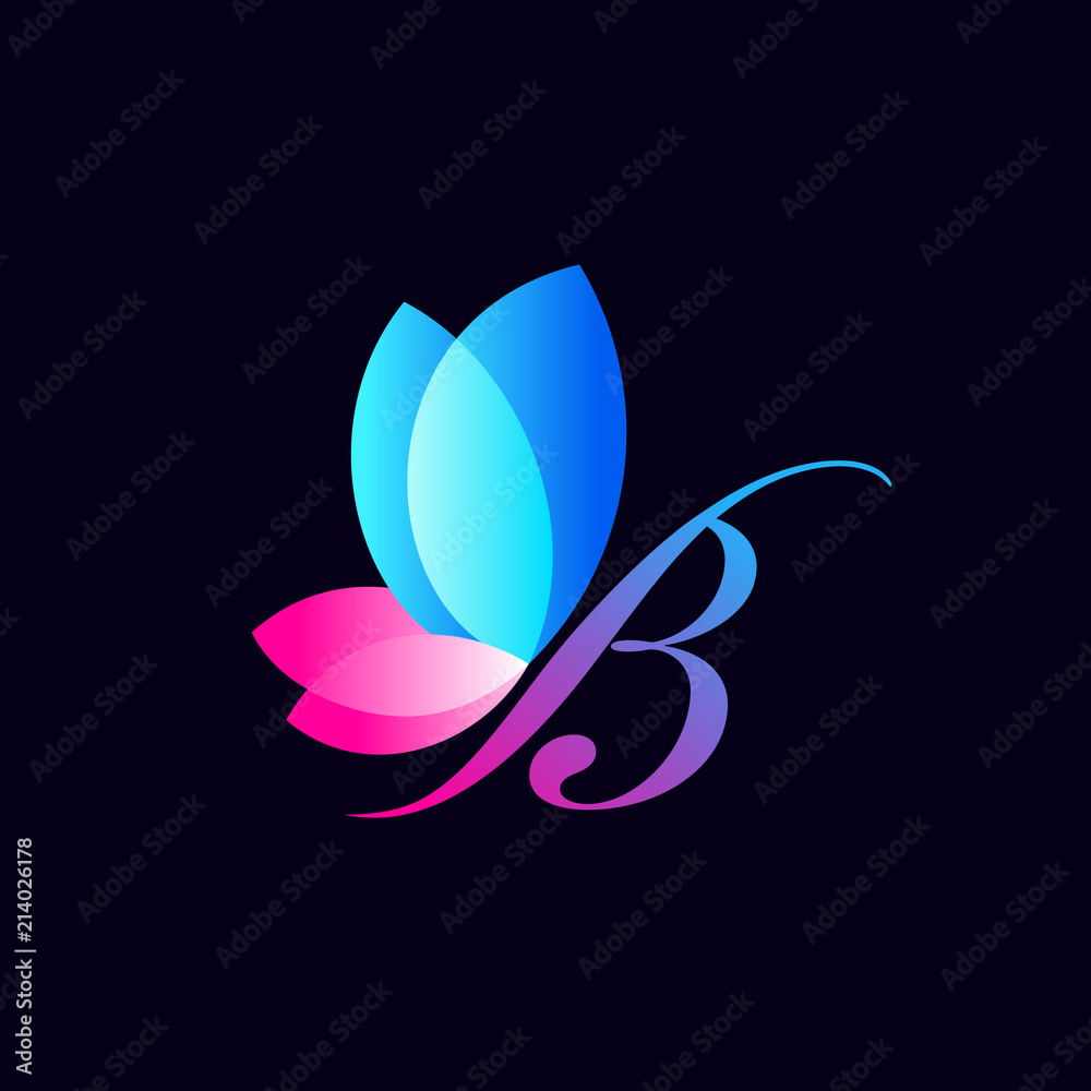 Fototapeta colorful butterfly logo template. an illustration concept of beautiful butterfly formed from combination of letter B and natural leaves
