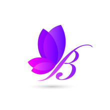 Colorful Butterfly Logo Template. An Illustration Concept Of Beautiful Butterfly Formed From Combination Of Letter B And Natural Leaves