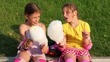 Two Little Pretty Girls Eat Ca...