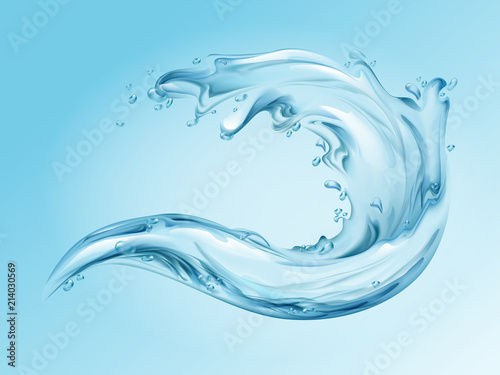 Water splash realistic vector illustration of 3d water wave with blue clear transparent effect of pure splashing drops Canvas Print