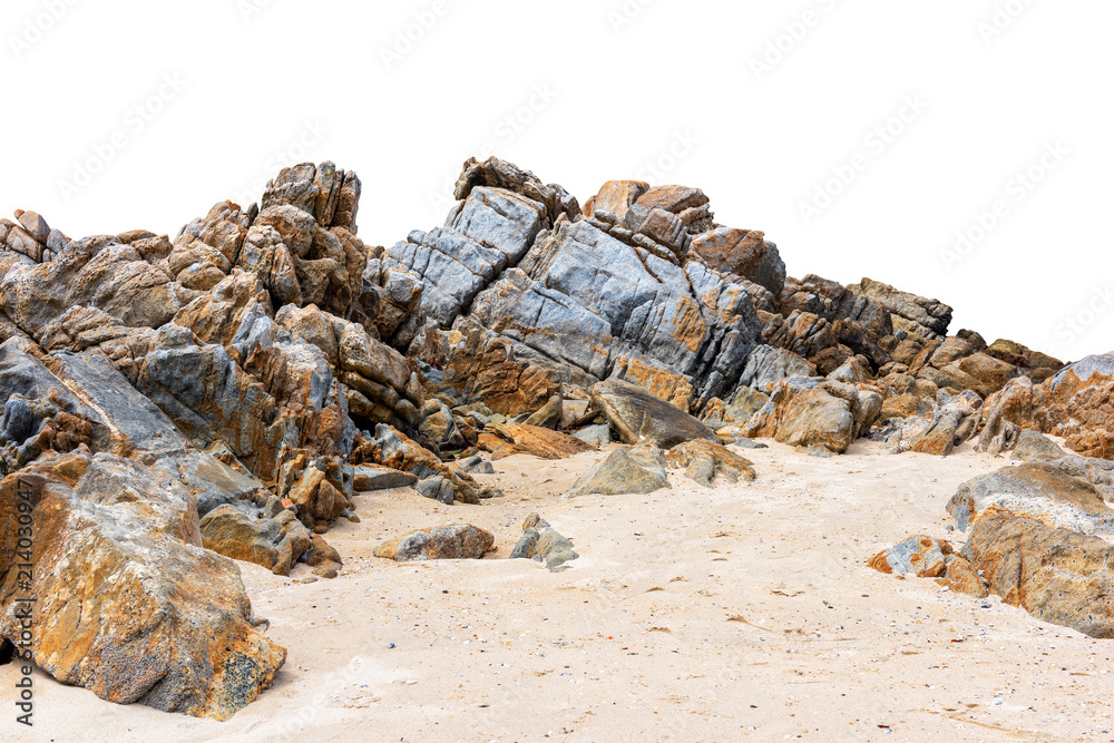 Fototapeta Big rock isolated on white. This has clipping path.