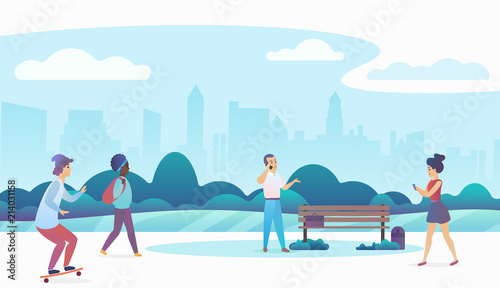 Fotobehang Lichtblauw People walking and relaxing in a beautiful urban public park with modern city skyline on the background. Modern flat gradient vector illustration.