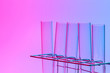 canvas print picture - science laboratory test tube , scientist equipement for research and analysis in lab , red and blue tone