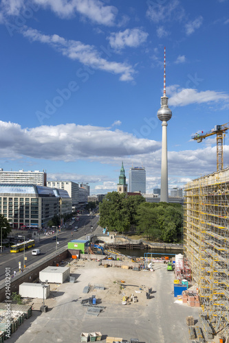 Berlin, Germany - July 01, 2018: Building of the City Palace in Berlin on the background of a TV tower Poster
