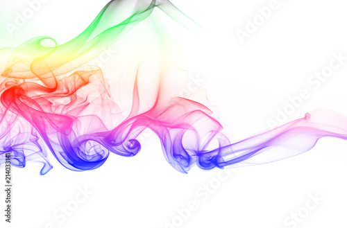Wall Murals Smoke Abstract colorful smoke on white background. fire design