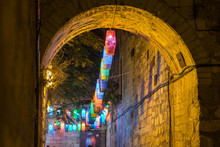 The Jerusalem Old City Streets With Colorful Lanterns