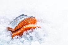Close-up Fresh Raw Salmon Fill...